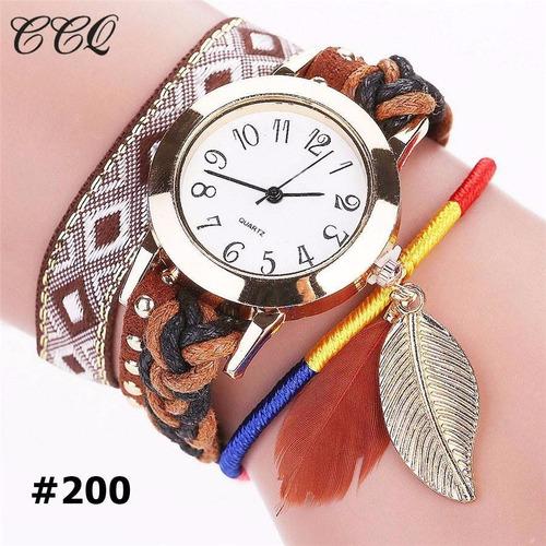 kit 4 relógio feminino duoya pulseira com pingente folha