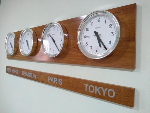 kit 4 relógio silencioso d fuso horário cromado 30 cm 160 cm
