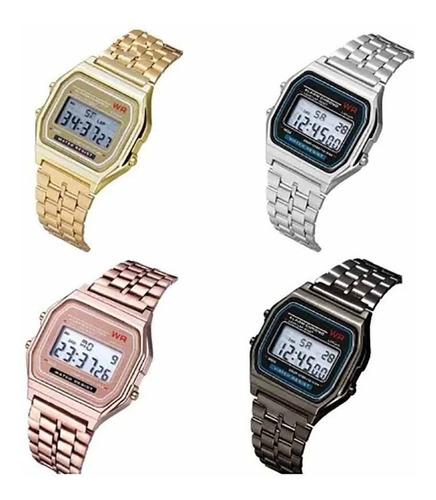 kit 4 relógios classico retrô vintage unissex atacado cass