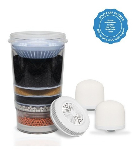 kit 4 repuestos filtro purificador agua ecotrade 24 litros