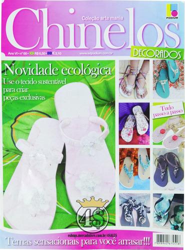 kit 4 revista chinelo decorados artesanado havaiana sandália
