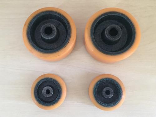 kit 4 roda macaco jacarezinho (2pol +3pol) ferro poliuretano