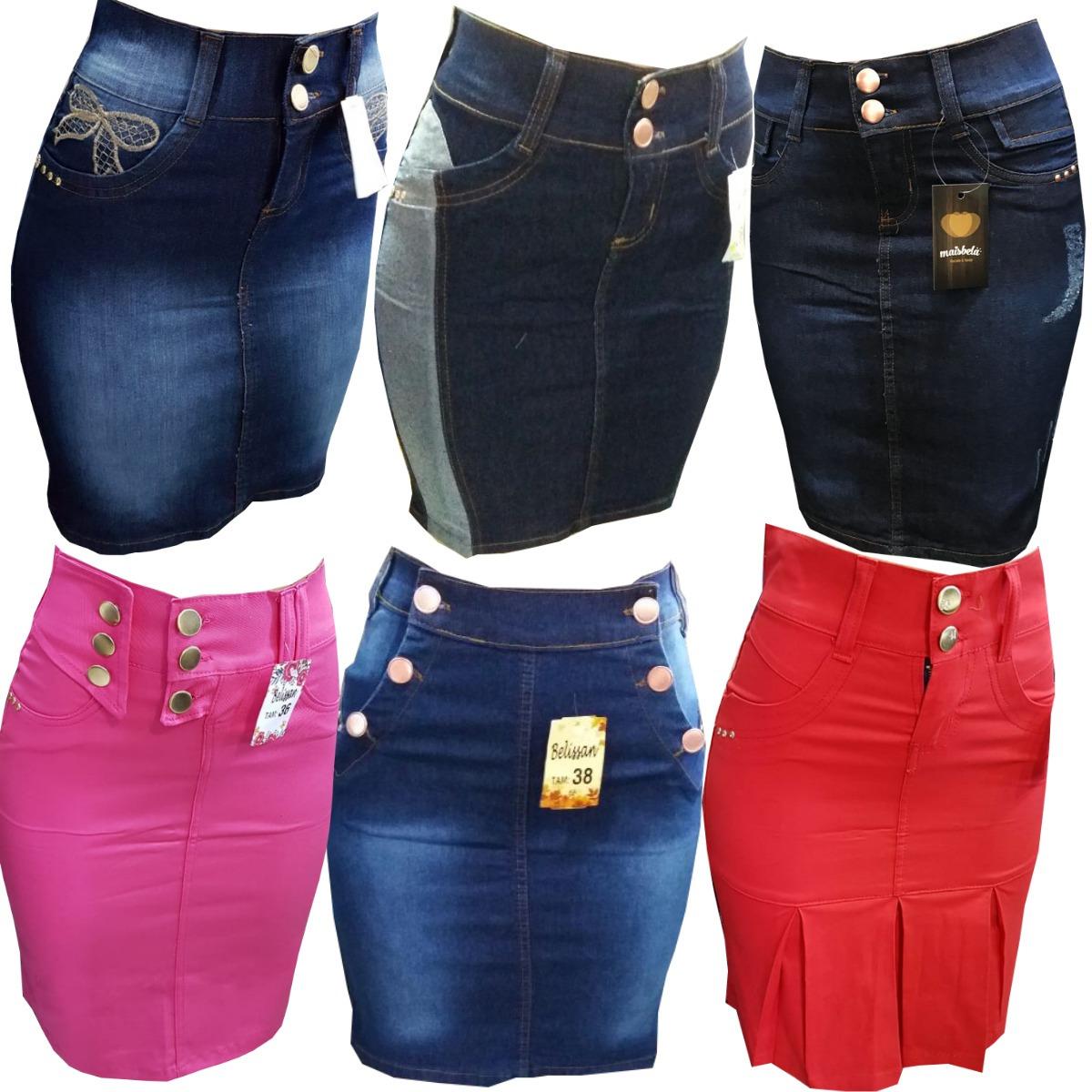 a2dbcf4a3 Kit 4 Saia Jeans Evangélica Moda Feminina Modelos Variados - R  164 ...
