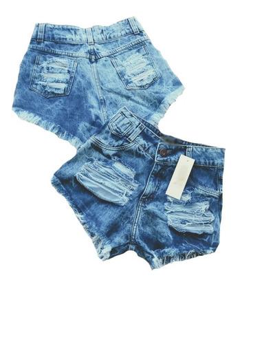 kit 4 shorts jeans feminino atacado cintura alta hot pant