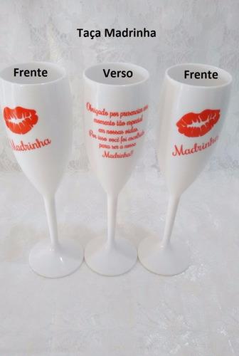 kit 4 taças para 2 padrinho+ 2 madrinha casamento