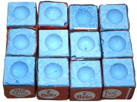 kit 4 taco 1,30m 1 dz giz azul e 1 cx branco sinuca bilhar