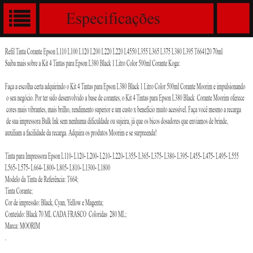 Kit 4 Tinta Corante Epson L110 L100 L200 L220 L455 L800 R 59 T664 L Series L120 Carregando Zoom