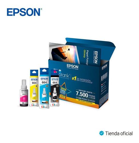 kit 4 tintas epson l200 l300 l500 obsequio papel fotografico