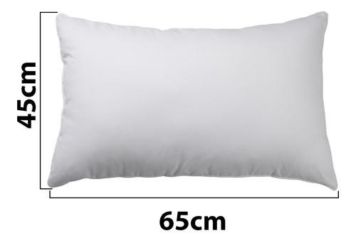 kit 4 travesseiro antialérgico macio fibra 45x65cm