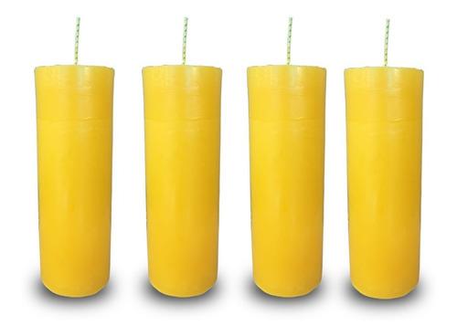 kit 4 velas votivas 7 sete dias colorida amarela