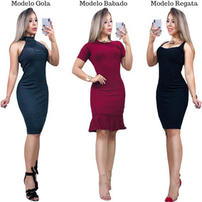 6e0b251bd Vestido Gola Alta Cavada Plus Size no Mercado Livre Brasil