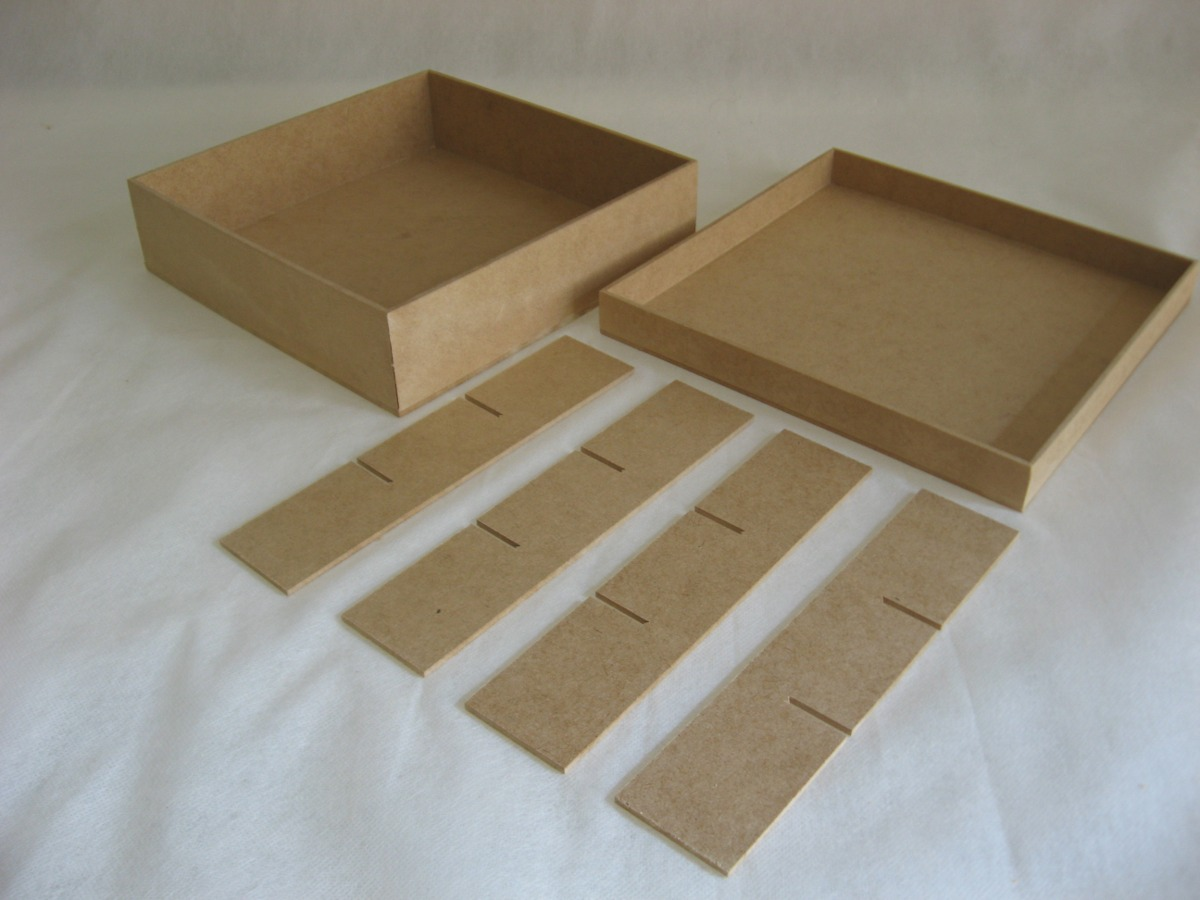 Artesanato Reciclavel Com Cd ~ Kit 40 Caixas 20x20x5 Mdf Cru Com 9 Divisórias Atacado R$ 219,90 em Mercado Livre