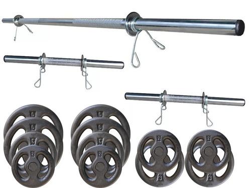 kit 40 kg de anilhas + 3 barras cromadas halter musculação