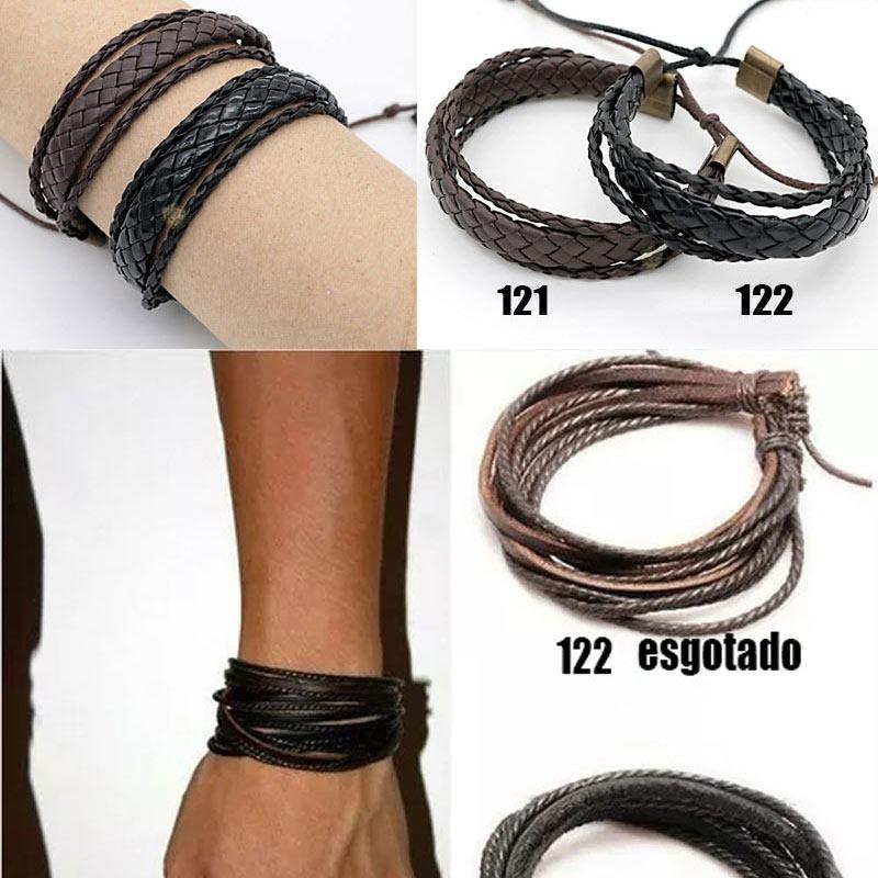 0af1d0f8e kit 40 pulseira bracelete masculina em couro atacado revenda. Carregando  zoom.