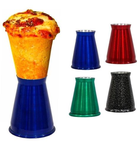 kit 40 suportes alumínio colorido pizza cone medio gastrobel