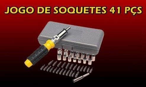 kit 41 chaves catraca reversível c/ soquetes, bits e maleta