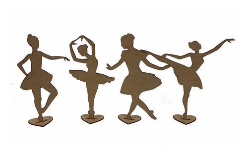 kit 45 bailarina mdf 25cm decoração mesa festa lembrancinha