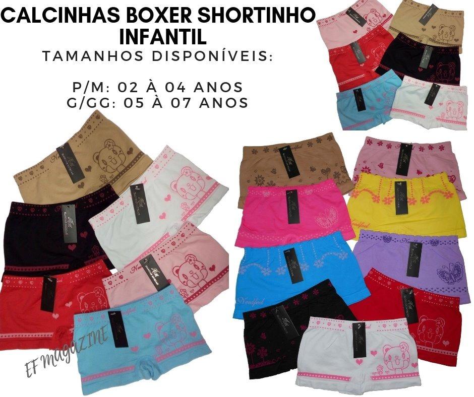 09b2769fa89208 Kit 48 Calcinha Infantil Box Boxer Shortinho Cueca Feminina
