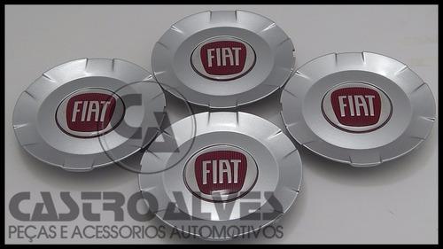 kit 4pçs calota calotinha roda liga leve vermelho fiat stilo