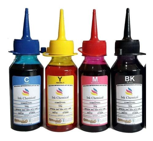 kit 4x 100ml tinta comestível jato de tinta para papel arroz