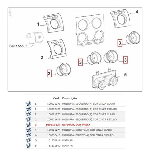 kit 4x difusor ar palio economy fire way 2004 a 2015 origina