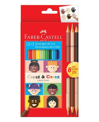 kit 4x lapis cor ecolapis 12+3 caras e cores faber castell