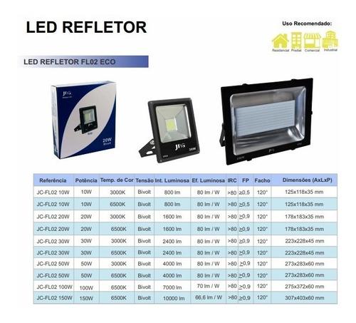 kit 4x refletor super led jng eco 10w 6500k branco frio biv