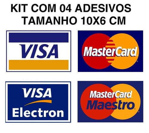 kit 5 adesivo cartão de credito visa mastercard + elo brinde