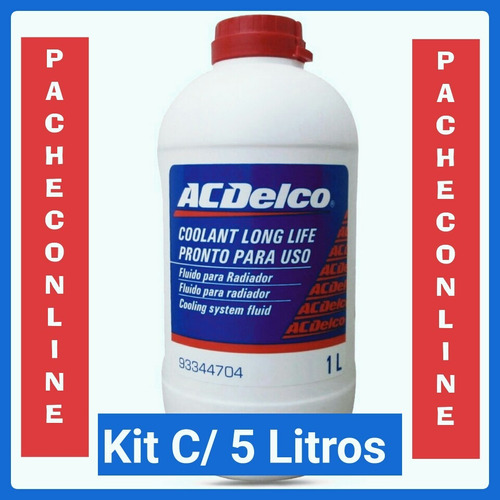 kit 5 aditivo para radiador ac delco diluído ( pronto uso )
