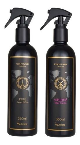 kit 5 água perfumada para tecidos 365ml cada via aroma