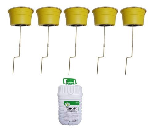 kit 5 armadilha mosca + atrativo target não agride 5 litros