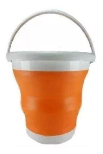 kit 5 baldes 10 lts flexível de silicone retrátil dobrável