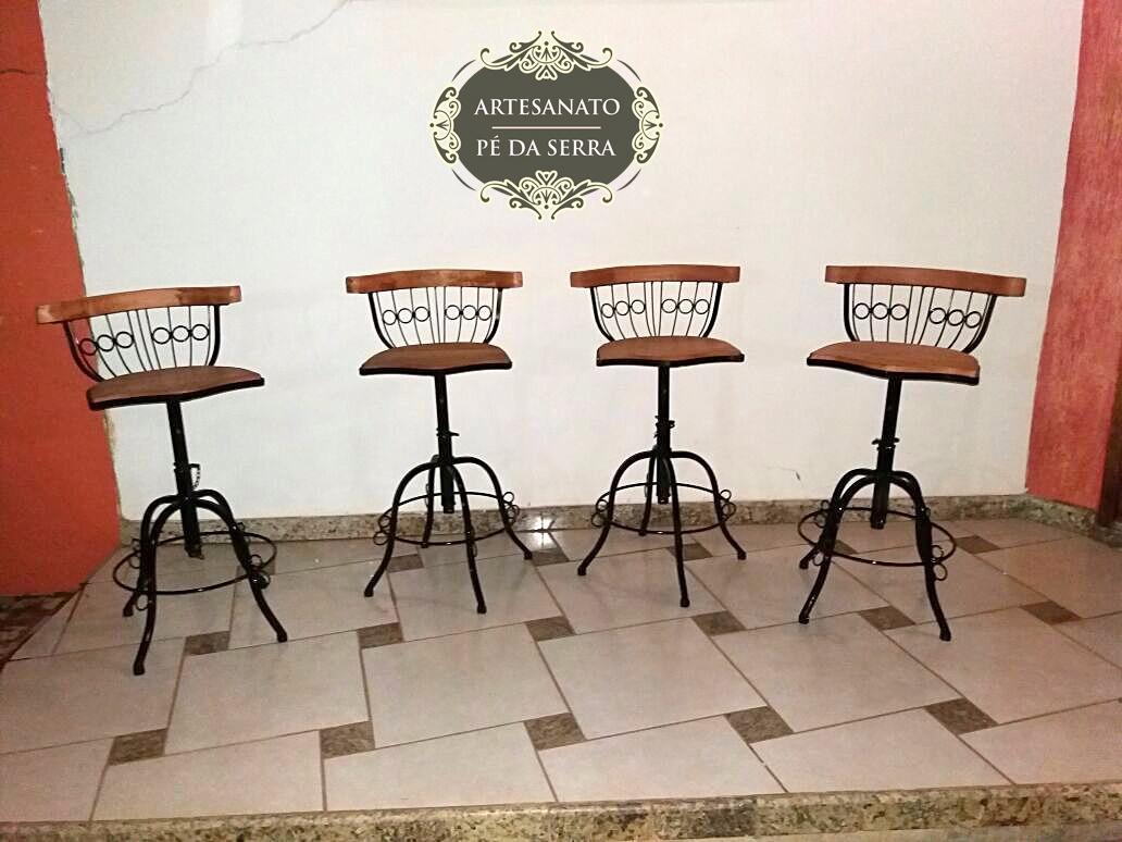 Kit 5 Banquetas Alta Cozinha Americana Ferro E Madeira R 630 99