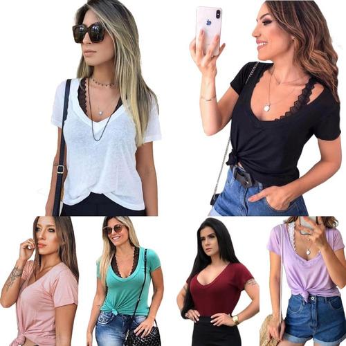 kit 5 blusa t shirt camiseta decotada feminina podrinha moda