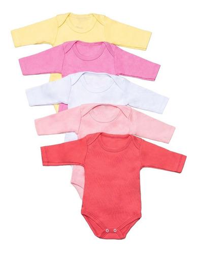 kit 5 body bebê manga longa algodão liso varias cores