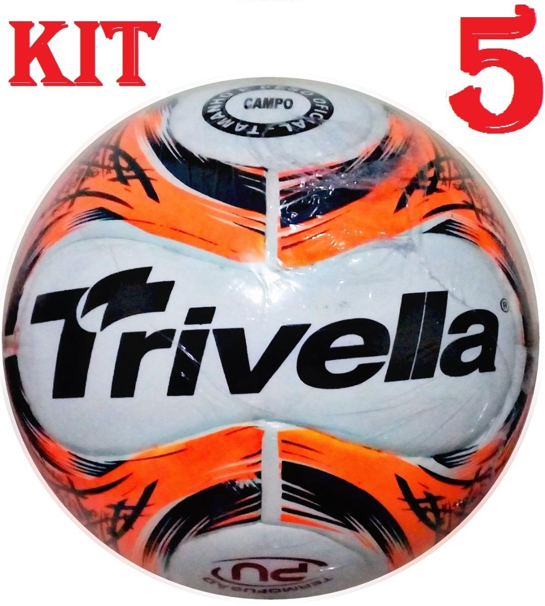kit 5 bolas de campo futebol trivella original - brasil gold. Carregando  zoom. fb07372ff83b8