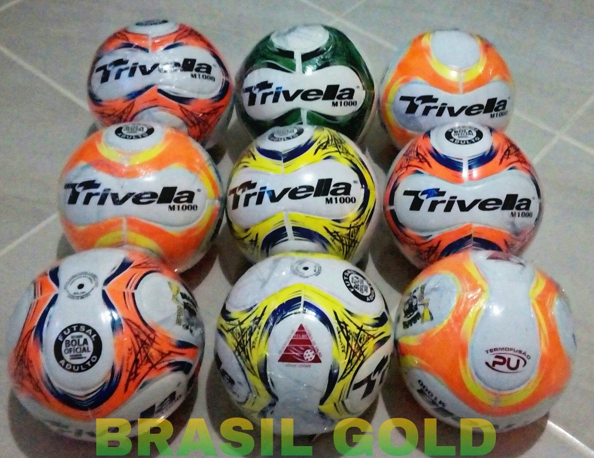 kit 5 bolas futsal futebol trivella original - brasil gold. Carregando zoom. 1170934ac8c89