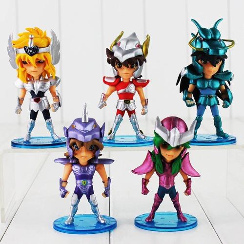 kit 5 bonecos dos cavaleiros do zodíaco para coleção