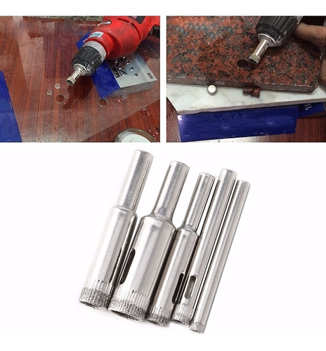 kit 5 broca diamantada medidas 5mm a 12mm