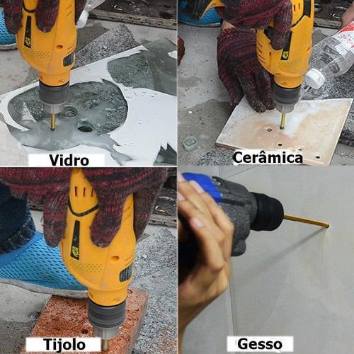 kit 5 brocas furar vidro piso ceramica azulejo madeira gesso