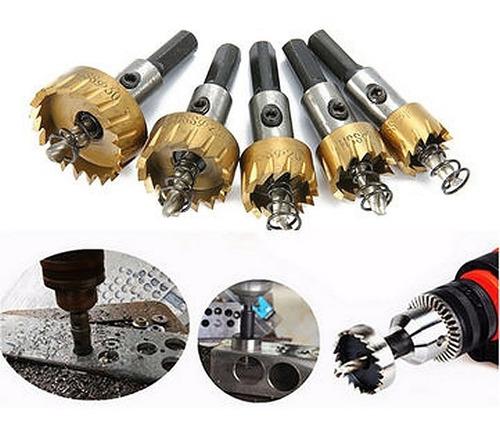 kit 5 brocas serra copo metal aço ferro 16/18,5/20/25/30mm
