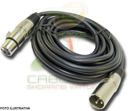 kit 5 cabos microfone/dmx - xlr/canon balanceado 10 metros