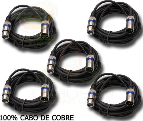 kit 5 cabos microfone/dmx - xlr/canon balanceado 3 metros