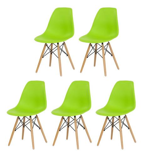 kit 5 cadeiras charles eames eiffel madeira varias cores