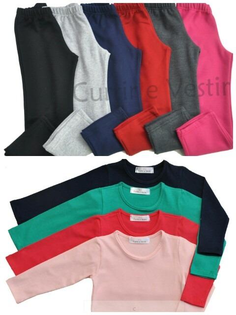 57fdf0868f Kit 5 Calça Moletom E 4 Camiseta M  Longa Menina - R  162
