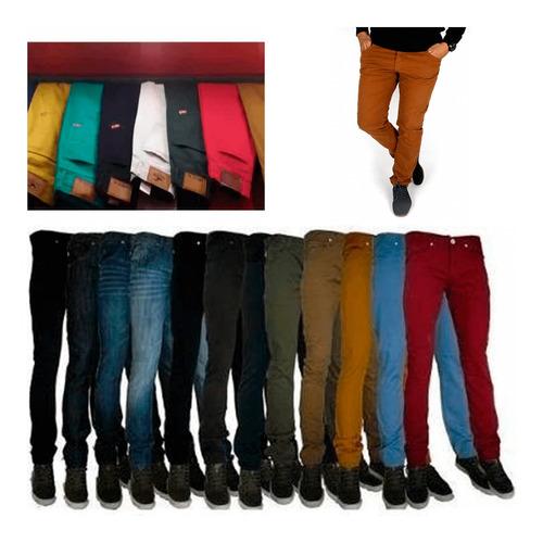 kit 5 calça sarja masculina slim skinny colorida top atacado