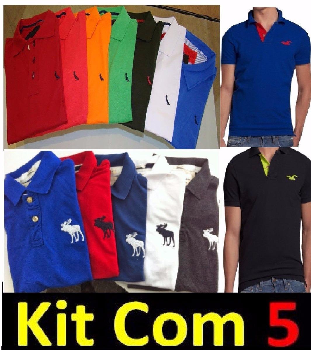 Kit 5 Camisa Camiseta Masculina Gola Polo Marcas Jovem - R  165 2604ee7e5bf8f
