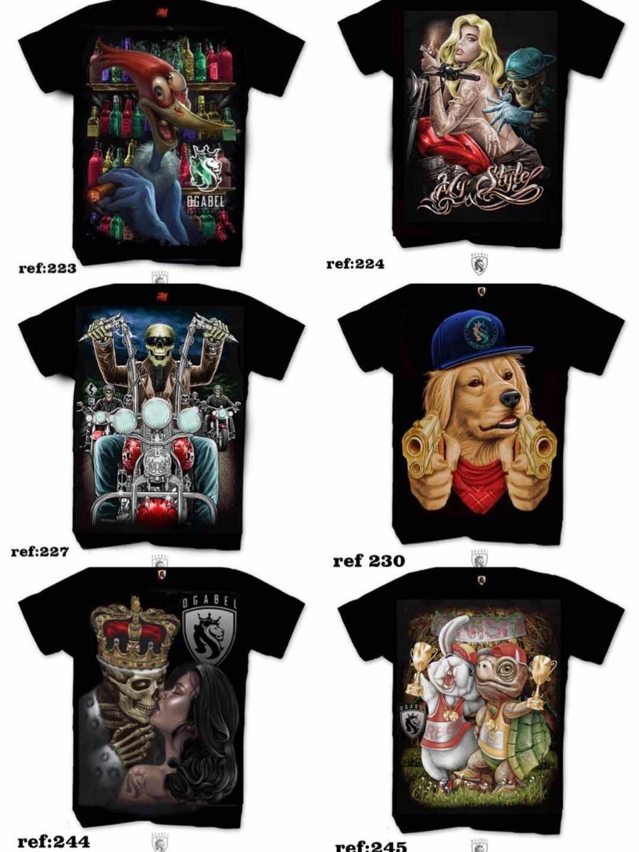 Kit 5 Camisas Camiseta Ogabel Caveira Mexicana Coringa Top - R  109 ... e512e64e53591