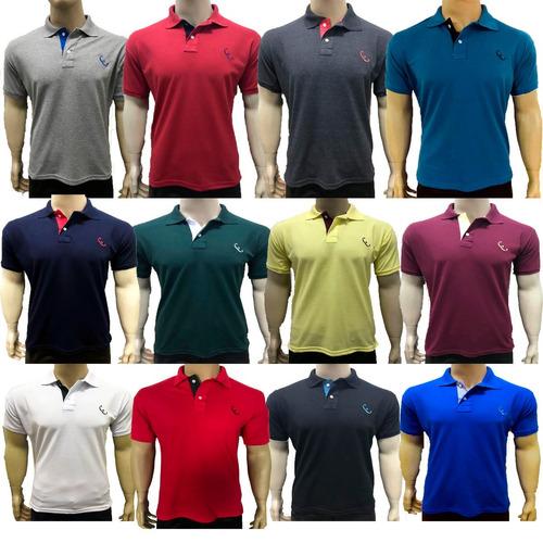 kit 5 camisas gola polo basica masculina atacado uniforme