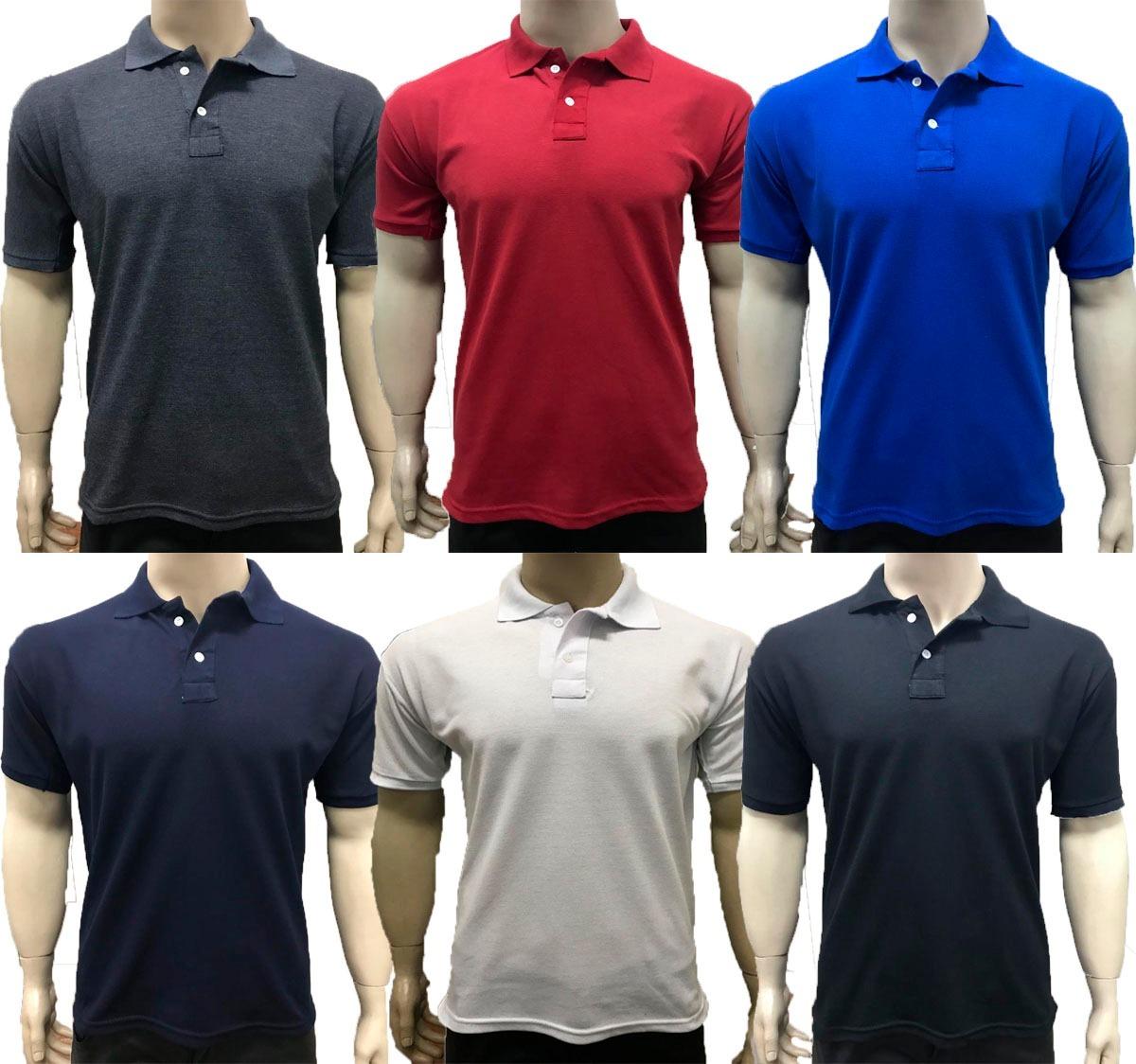 1506d35b19 kit 5 camisas gola polo basica masculina atacado uniforme. Carregando zoom.